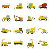 Ícones dos veículos da construção ajustados no estilo liso ilustração royalty free