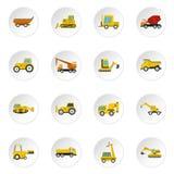 Ícones dos veículos da construção ajustados no estilo liso ilustração stock