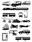 Ícones dos veículos de transporte público ajustados Fotografia de Stock Royalty Free