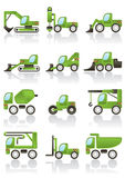 Ícones dos veículos do edifício ajustados ilustração stock