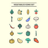 ícones dos vegetais ajustados Imagens de Stock