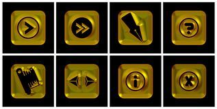 Ícones dourados Imagens de Stock Royalty Free