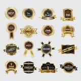 Ícones dourados da grinalda do louro da qualidade superior ajustados ilustração stock