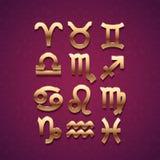 Ícones dourados do símbolo do zodíaco Fotografia de Stock