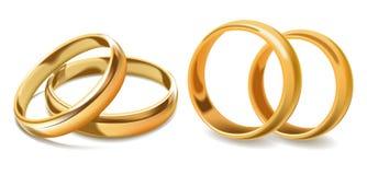 Ícones dourados do vetor 3d das alianças de casamento ilustração do vetor