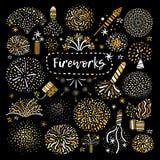 Ícones dourados festivos do fogo de artifício ajustados ilustração stock