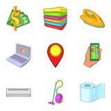 Ícones durante a noite ajustados, estilo da estada dos desenhos animados Imagens de Stock Royalty Free