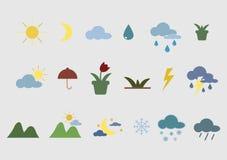 Ícones e acessórios da natureza ilustração stock