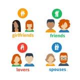 Ícones e avatars brilhantes Fotografia de Stock Royalty Free