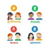 Ícones e avatars brilhantes Imagens de Stock Royalty Free