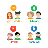 Ícones e avatars brilhantes Imagem de Stock
