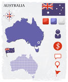 Ícones e botões do mapa de Austrália ajustados Imagens de Stock Royalty Free