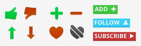 Ícones e botões sociais Foto de Stock Royalty Free