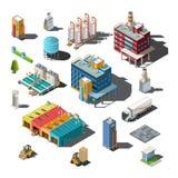 Ícones e composições de assuntos industriais ilustração do vetor