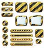 Ícones e elementos de advertência para o jogo de Ui ilustração stock