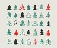 Ícones e elementos tirados mão da árvore de Natal ilustração stock