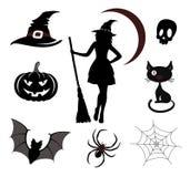 Ícones e emblemas de Halloween Imagens de Stock