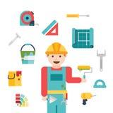 Ícones e ilustrações relacionados da construção Foto de Stock Royalty Free