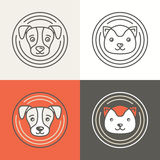 Ícones e logotipos do cão e gato do vetor Fotos de Stock Royalty Free