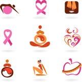 Ícones e logotipos fêmeas da saúde Fotografia de Stock Royalty Free