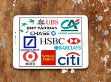 Ícones e logotipos globais superiores dos bancos Fotos de Stock