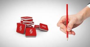 ícones e mão do símbolo da seção 3D que guardam o lápis Imagens de Stock Royalty Free