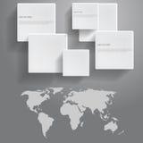 Ícones e mapa do mundo, para o projeto Foto de Stock Royalty Free