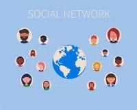 Ícones e planeta sociais dos povos da rede ilustração royalty free