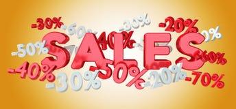 Ícones e por cento das vendas que flutuam na rendição do ar 3D Foto de Stock Royalty Free