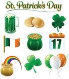 Ícones e projetos do dia de St Patrick ilustração royalty free