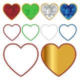Ícones e quadros dos corações Fotografia de Stock