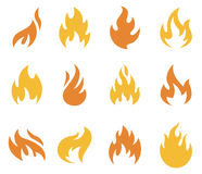Ícones e símbolos da chama do fogo Imagens de Stock