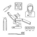 Ícones e símbolos da profissão do dentista Imagem de Stock
