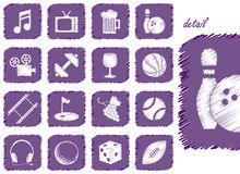 Ícones e símbolos da recreação ilustração stock