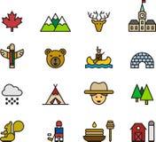 Ícones e símbolos de Canadá Imagem de Stock