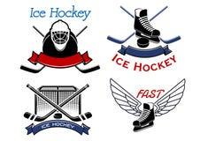 Ícones e símbolos do esporte do hóquei em gelo Fotos de Stock Royalty Free