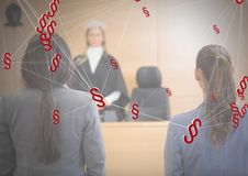 ícones e sala do tribunal do símbolo da seção 3D Imagem de Stock