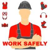 Ícones e sinais da saúde e segurança no trabalho ajustados ilustração royalty free