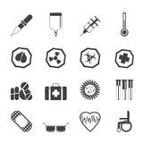 Ícones e sinais de aviso temáticos médicos simples da silhueta Fotos de Stock Royalty Free
