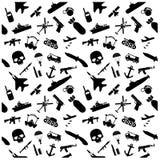 Ícones e teste padrão militares do fundo Imagem de Stock Royalty Free