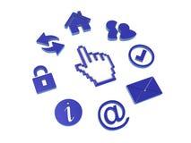 Ícones e uma mão do cursor Imagem de Stock Royalty Free