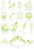 Ícones e vetor verdes dos gráficos ilustração stock
