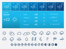 Ícones e widget do tempo Foto de Stock
