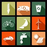 Ícones ecológicos Fotografia de Stock
