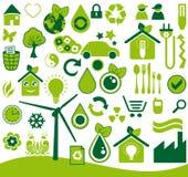 Ícones ecológicos ajustados ilustração royalty free