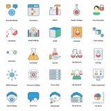 ícones editáveis médicos e da tecnologia da linha e do vetor da suficiência de cor ilustração do vetor
