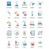 ícones editáveis médicos e da tecnologia da linha e do vetor da suficiência de cor ilustração stock