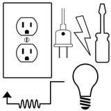 Ícones elétricos do símbolo do eletricista do reparo ajustados ilustração do vetor