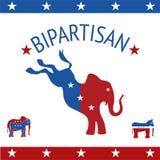 Ícones, elefante e asno políticos das democratas dos republicanos no re ilustração stock