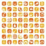 Grupo grande do ícone da exploração agrícola da cor Foto de Stock